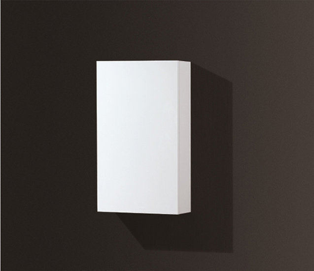 High Gloss White Bathroom Linen Side Cabinet w/ 2 Storage Areas