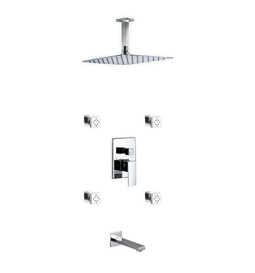 "Aqua Piazza: 12"" Ceiling Mount Square Rain Shower, Tub Filler and 4 Body Jets"