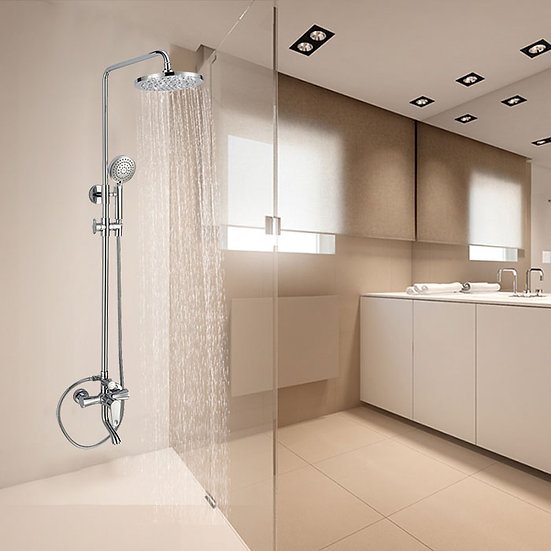 Bathroom Single Handle Tub and Shower Faucet with Hand Shower - Brass with Chrom