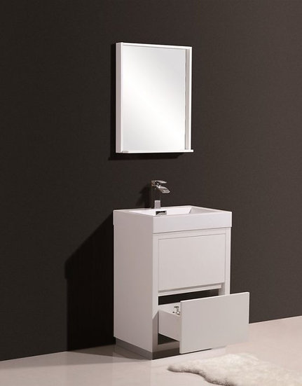 "Bliss 24"" High Gloss White Free Standing Vanity"