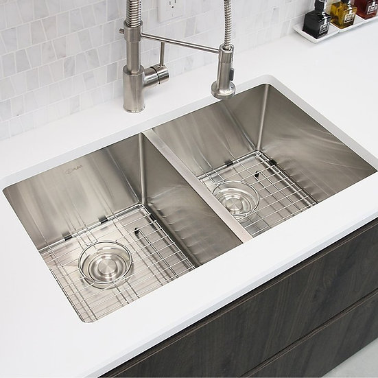 28 in Double Bowl Kitchen Sink, 18 Gauge Stainless Steel with Grids and Basket S