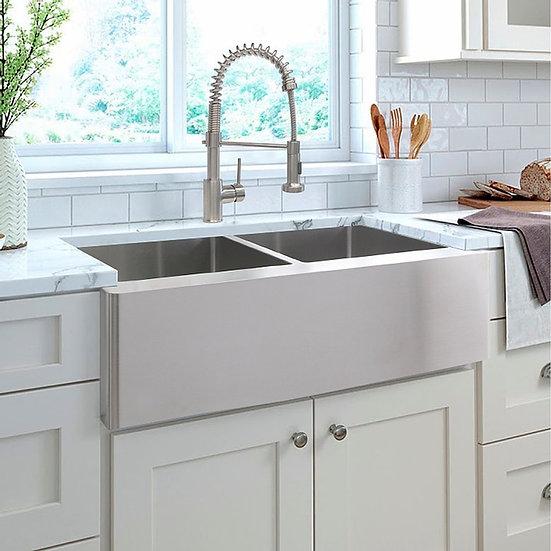 STYLISH 33'' LAPIS Double Bowl Apron Kitchen Sink, 16 ga. Stainless Steel