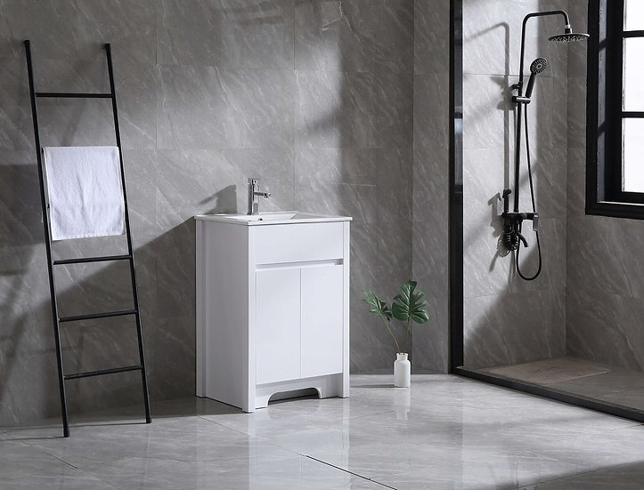 """24"""" INDY - White - Single Sink Freestanding Vanity with Ceramic Countertop"""