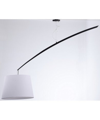 Rod Chandelier with Black Base and White Shade