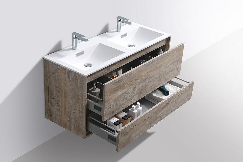 "DeLusso 48"" Double Sink Ash Gray Wall Mount Modern Bathroom Vanity"