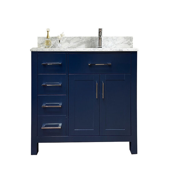 "36"" MELLA - Royal Blue - Single Sink Vanity with Marble Countertop"