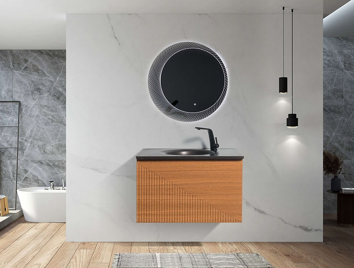 "30"" SIMON - Light Oak - Single Sink Wall-Hung Bathroom Vanity with Black Quartz"