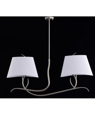 Double Satin Nickel Chandelier with White Shades