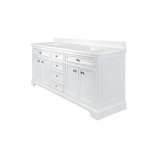 Milan Bathroom Vanity - White - Double Sink - Countertop Snow white quartz