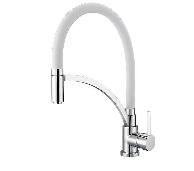 Acqua + Bango, Solid Brass single handle Kitchen Faucet, White and Chro
