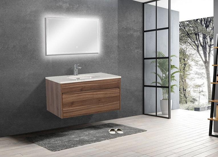 "36"" LAMINA - Walnut- Single Sink Wall-Hung Vanity with Quartz Countertop"