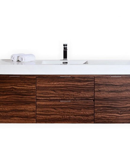 """Bliss 60"""" Walnut Wall Mount Sink Sink Vanity"""