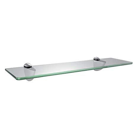 Lavatory Bathroom Corner Tempered Glass Shelf 8MM-Thick Wall Mount Rectangular,