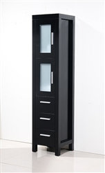 Brezza Espresso Bathroom Linen Cabinet w/ 2 Frosted Glass Doors & 3 Drawers