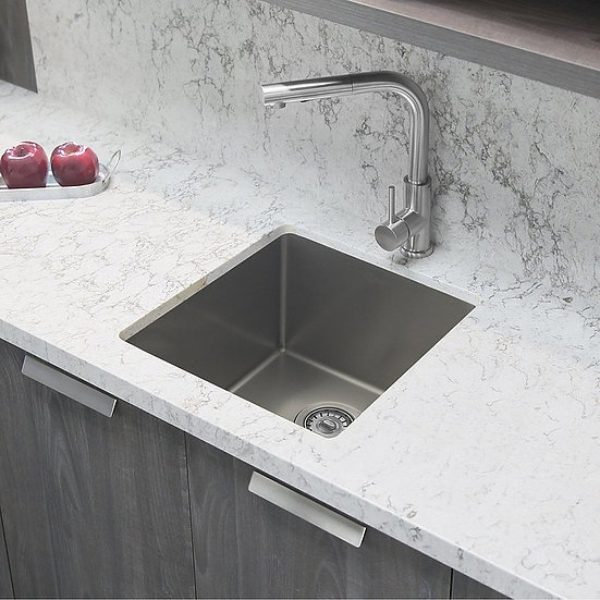 16 in Single Bowl Kitchen Sink, 16 Gauge Stainless Steel with Standard Strainers