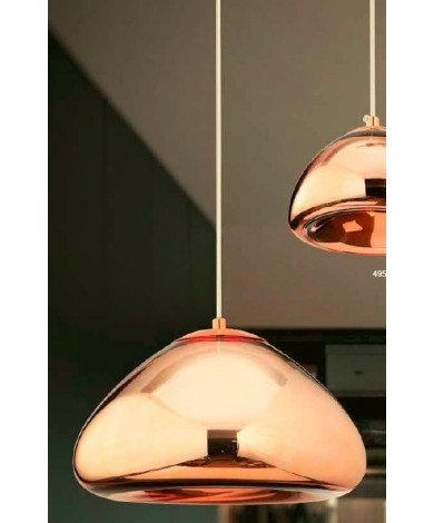 Large Glass Copper Single Pendant