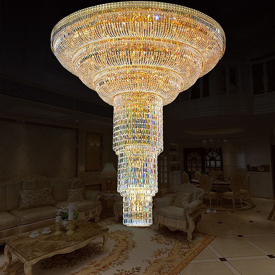 154-Light Gold Crystal Hall Chandelier, LIG8937648722