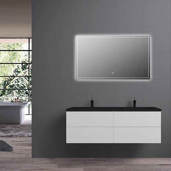 "60"" Edge - White - Double Sink Wall-Hung Bathroom Vanity"