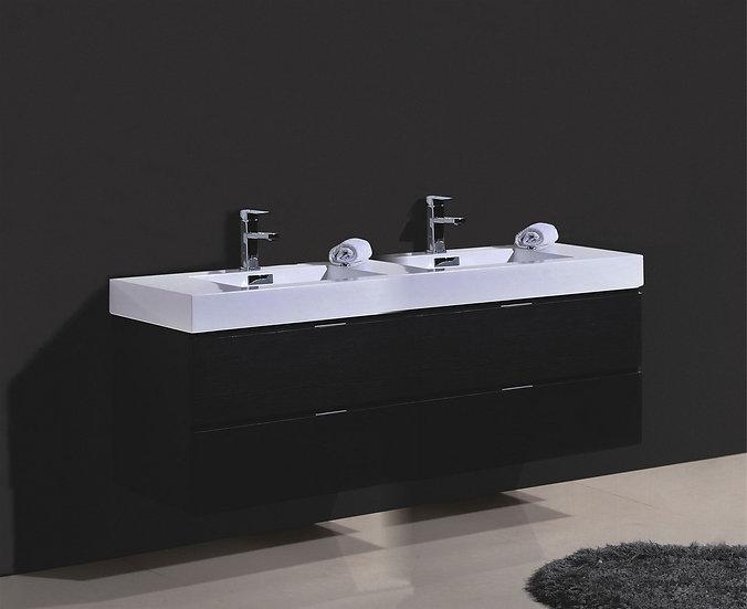 BLISS 72″ BLACK WALL MOUNT DOUBLE SINK MODERN BATHROOM VANITY