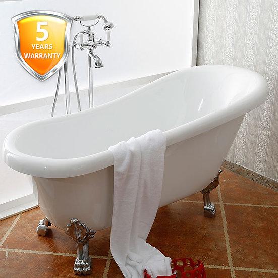 61 In Clawfoot Freestanding Bathtub - Acrylic White