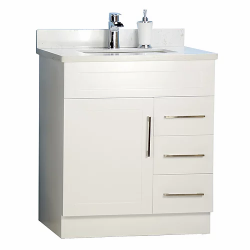 "30"" Shaker Style White Bathroom Vanity with Stone Top"