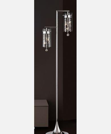 Double Chrome & Crystal Floor Lamp