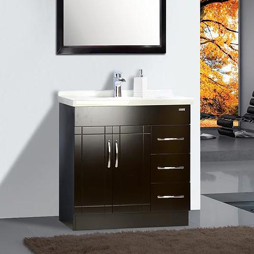 "32"" Asher Style Espresso Bathroom Vanity with Ceramic Top"