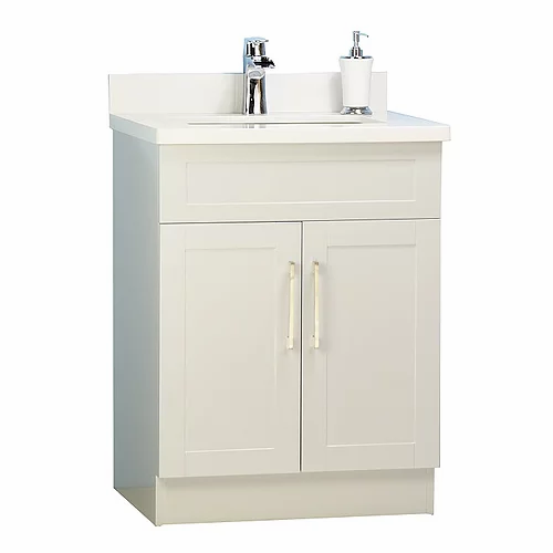"26"" Shaker Style White Bathroom Vanity with Stone Top"