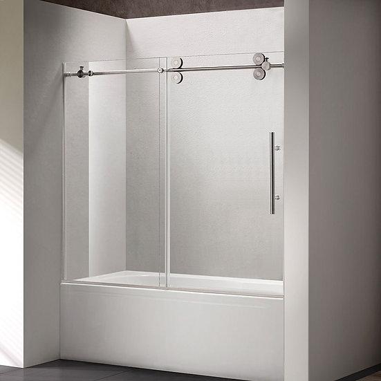 "60"" Brushed Nickel Finish Sliding Tub-Shower Door"
