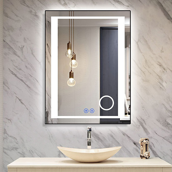 24 x 32 Inch LED Bathroom Mirror/Dress Mirror with Touch Button, Magnifier, Anti