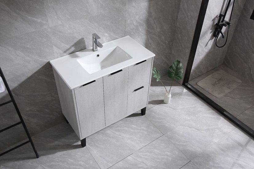 "36"" Odessa - Cement - Ceramic Top - Single Sink Bathroom Vanity"