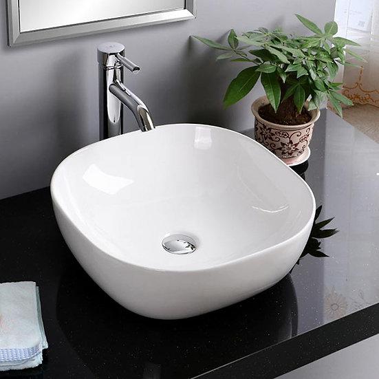 White Round Ceramic Above Counter Basin