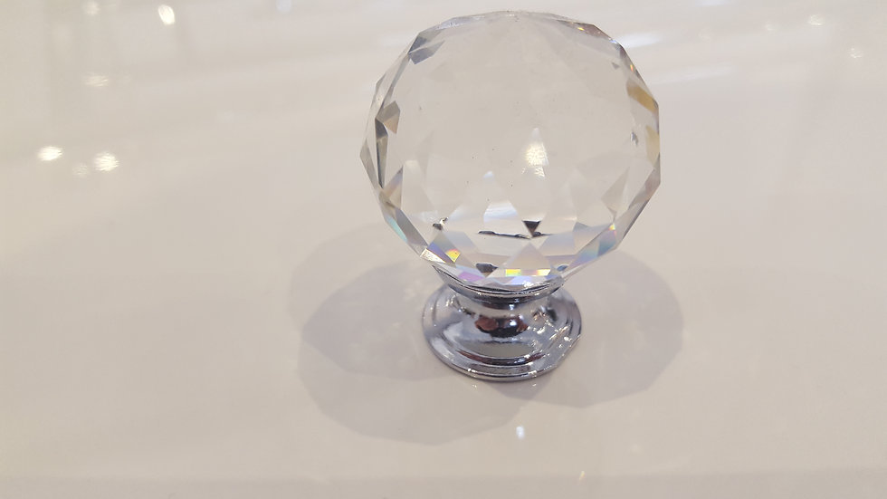 Large Round Crystal Knob with Chrome Finish
