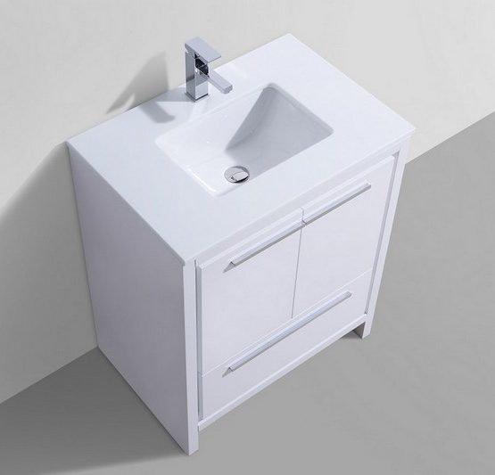 "Dolce 30"" High Gloss White Vanity"