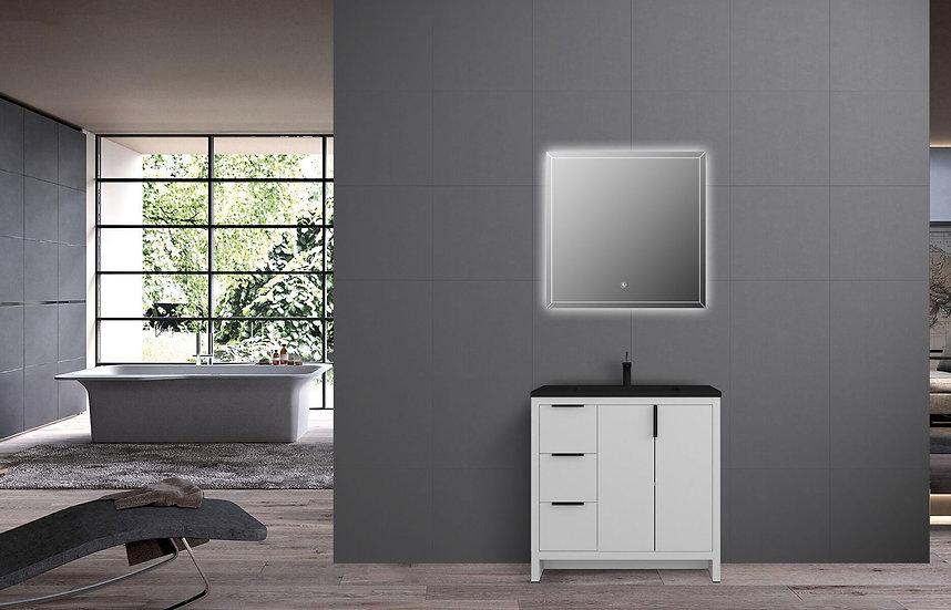 "36"" Alaska - White - Single Sink Bathroom Vanity - Modified Black Quartztop"