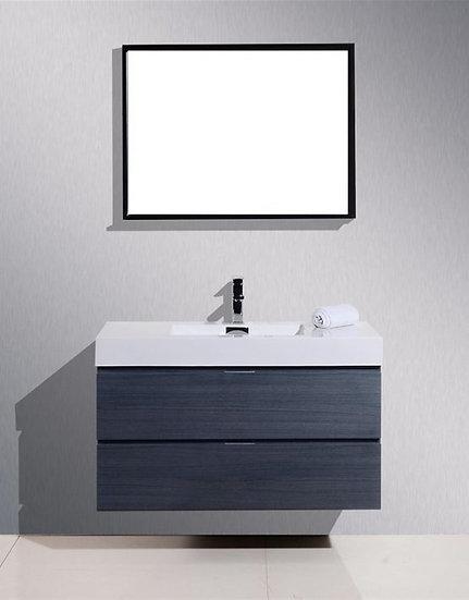 "Bliss 40"" High Gloss Gray Oak Wall Mount Vanity"