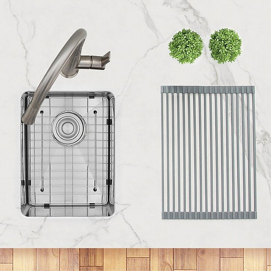 14 in Single Bowl Bar Sink, 18 Gauge Stainless Steel with Grid and Basket Strain