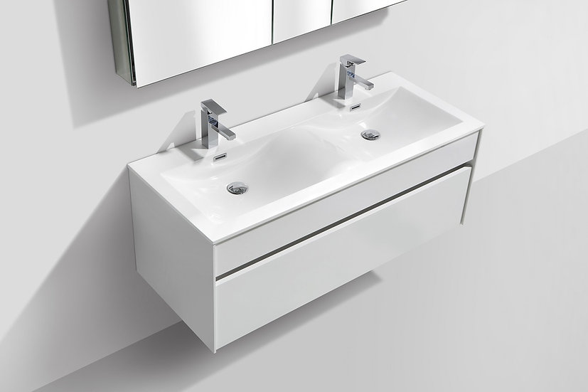 Tona Fitto 48″ High Gloss White Double Sink Wall Mount Modern Vanity