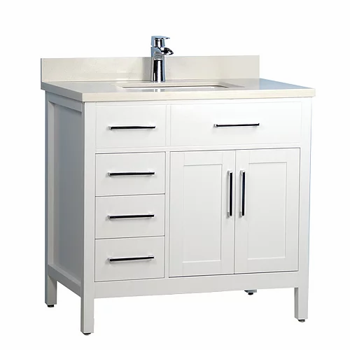 "36"" Classic Style White Solid Wood Bathroom Vanity with Stone Top"