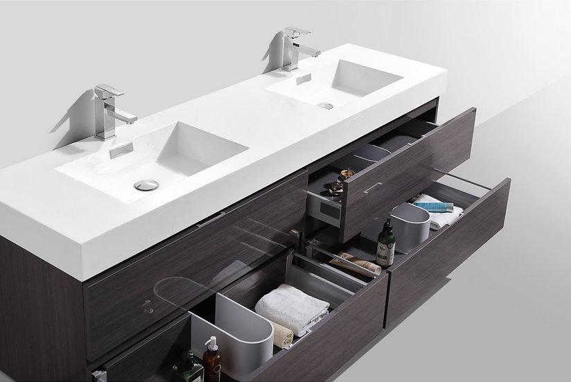 BLISS 72″ HIGH GLOSS GRAY OAK WALL MOUNT DOUBLE SINK MODERN BATHROOM VANITY