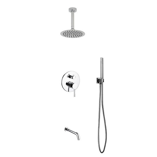 "Aqua Rondo: 8"" Ceiling Mount Round Rain Shower, Handheld and Tub Filler"