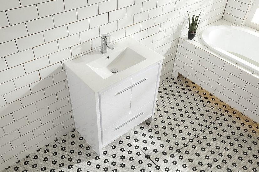 """30"""" Melanie - White - Single Sink Bathroom Vanity"""
