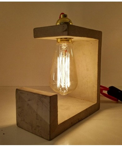 """Abstract Concrete Tqable 9"""" Table Lamp"""