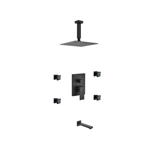 AQUA PIAZZA BLACK SHOWER SET W/ 8″ CEILING MOUNT SQUARE RAIN SHOWER, TUB FILLER