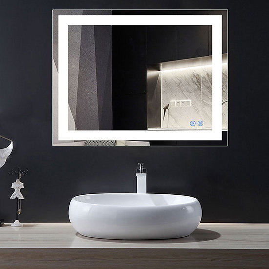 36 x 28 In LED Bathroom Mirror with Touch Button, Anti-Fog, Dimmable, Vertical &