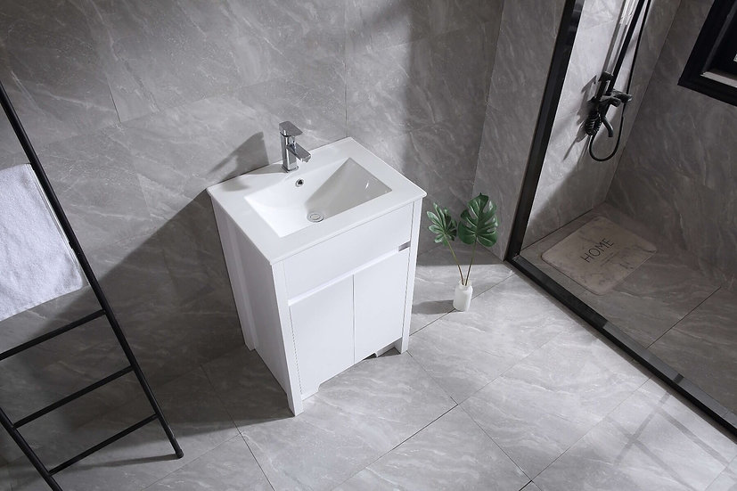 "24"" INDY - White - Single Sink Bathroom Vanity with Ceramic Countertop"