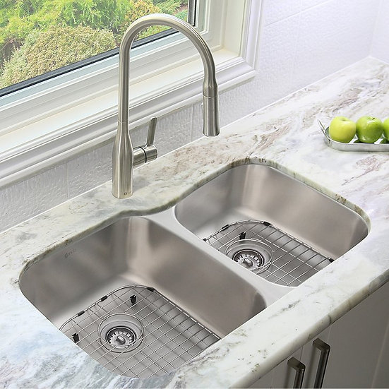 32 in Dual Mount Double Bowl Kitchen Sink, 18 Gauge Stainless Steel with Grids S