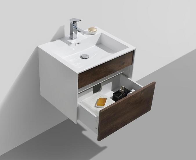 "LUXURYBATH Fitto 24"" Rose Wood Wall Mount Modern Bathroom Vanity"
