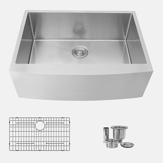 30 in Single Bowl Apron Kitchen Sink, 16 Gauge Stainless Steel with Grid and Bas