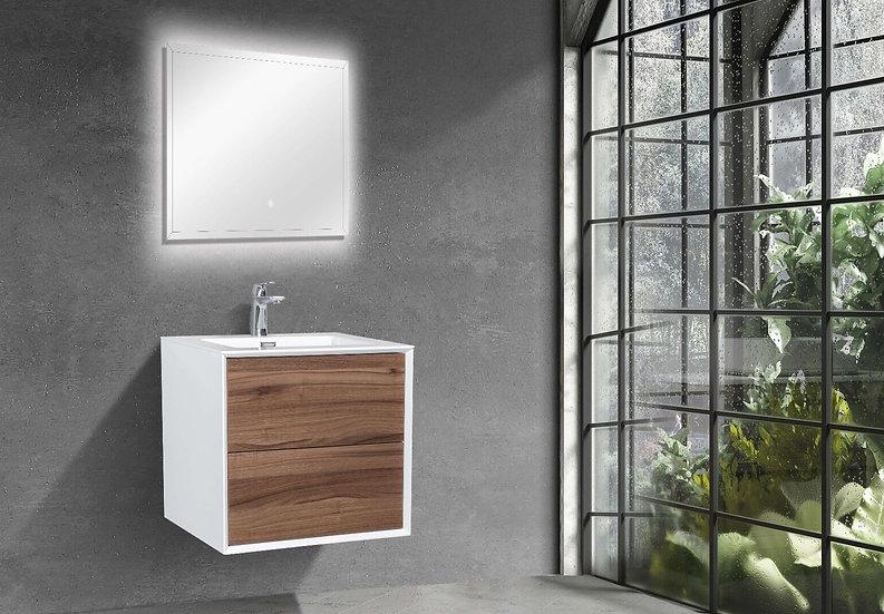 "24"" FLEUR - Walnut - Single Sink Wall-Hung Bathroom Vanity"